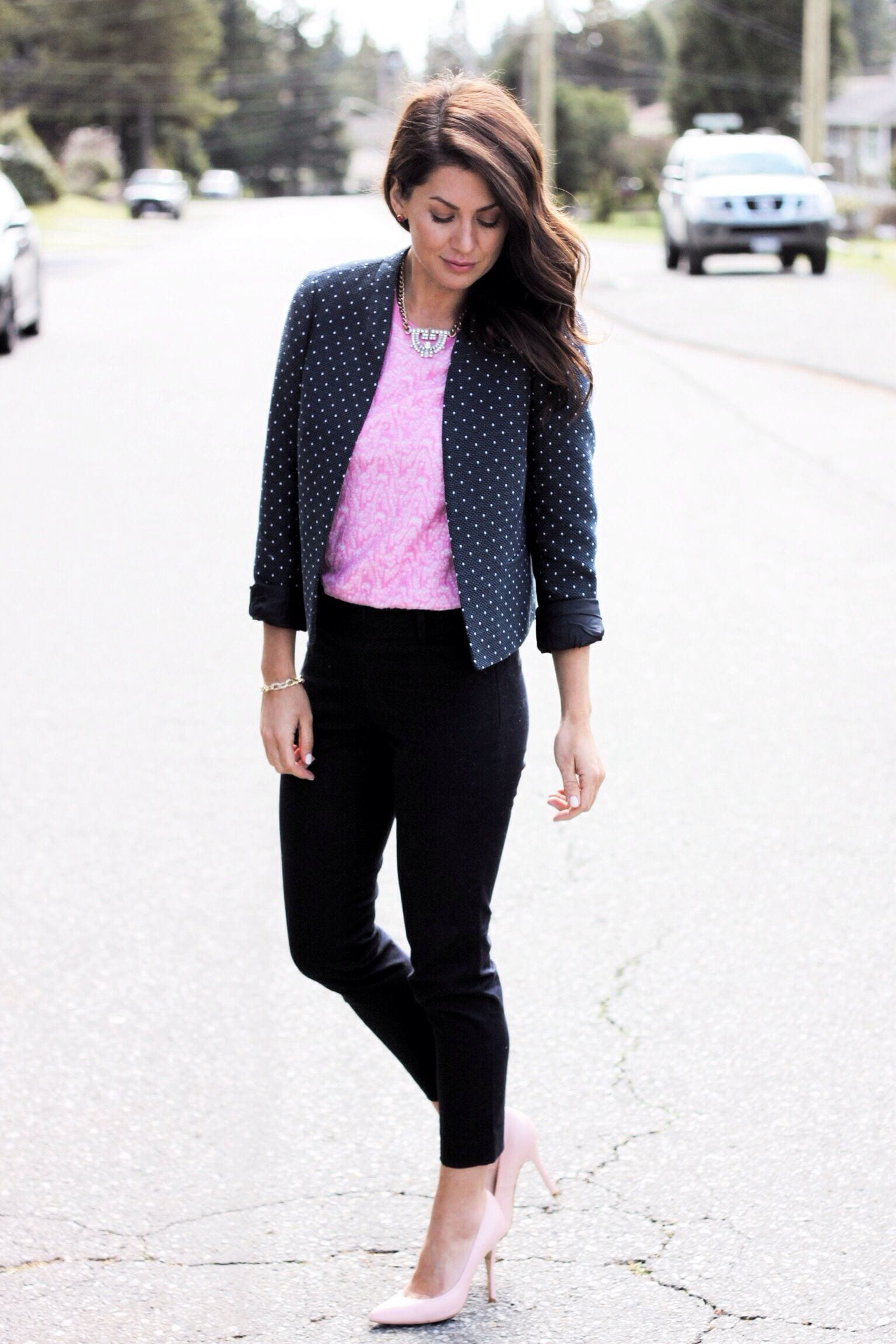 Black t shirt navy pants - Leopard Pants Grey T Shirt Black Blazer Black Heels Black Watch Navy Blazer Pink Top Black Dress Pants Pink Heels Necklace