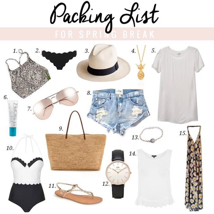 Packing List for Spring Break