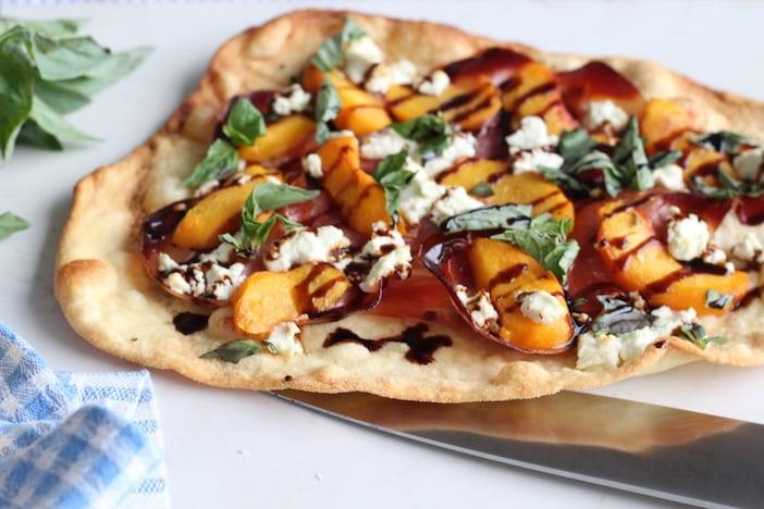 Peach, Goat Cheese & Prosciutto Pizza - Jillian Harris