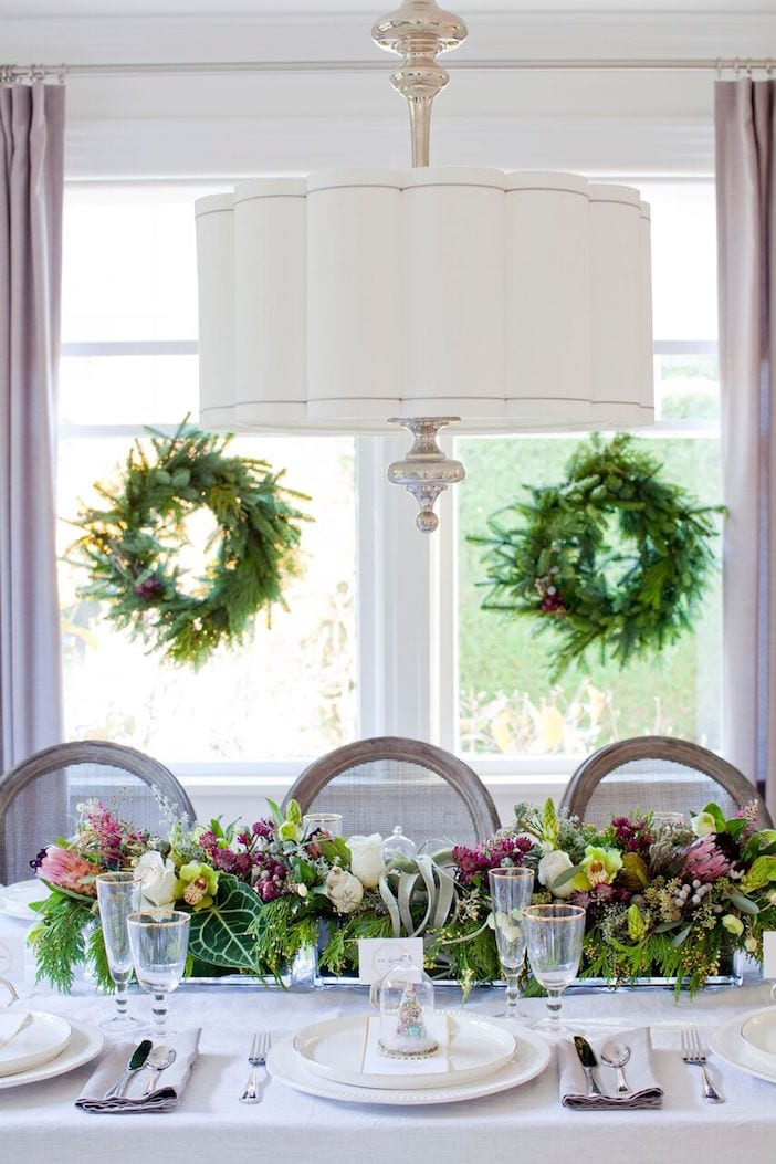 christmas table decorating - Green Christmas Table Decorations