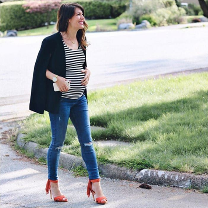 JIllian wearing striped shirt and black ASOS blazer