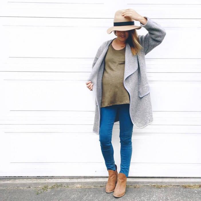 Jillian Harris wearing grey wool coat and Poppy Barley tan booties