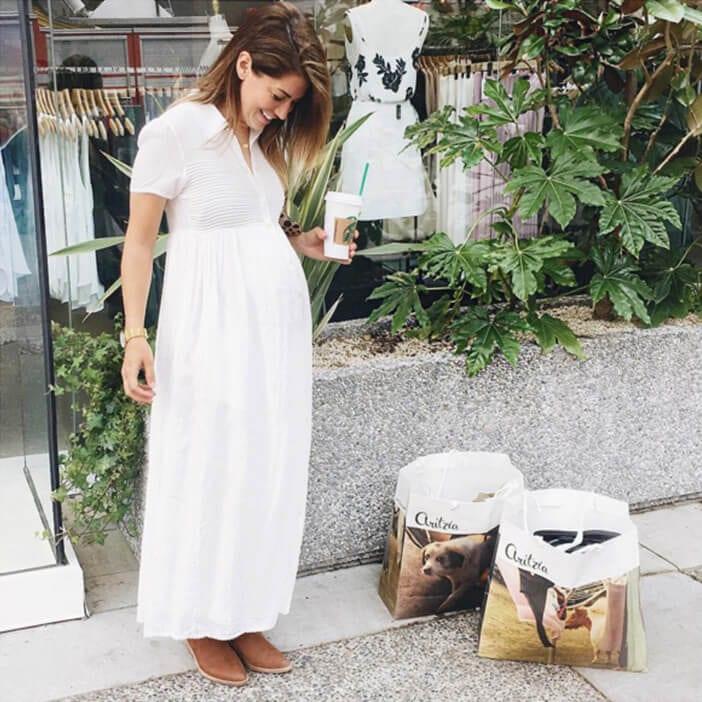 Jillian Harris wearing white Gardanne Aritzia dress