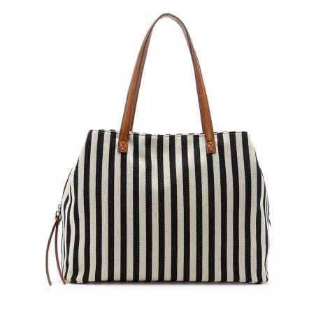 millie black and white stripe diaper bag
