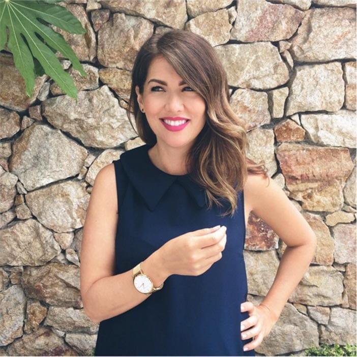 Jillian-Harris-wearing-navy-blue-dress