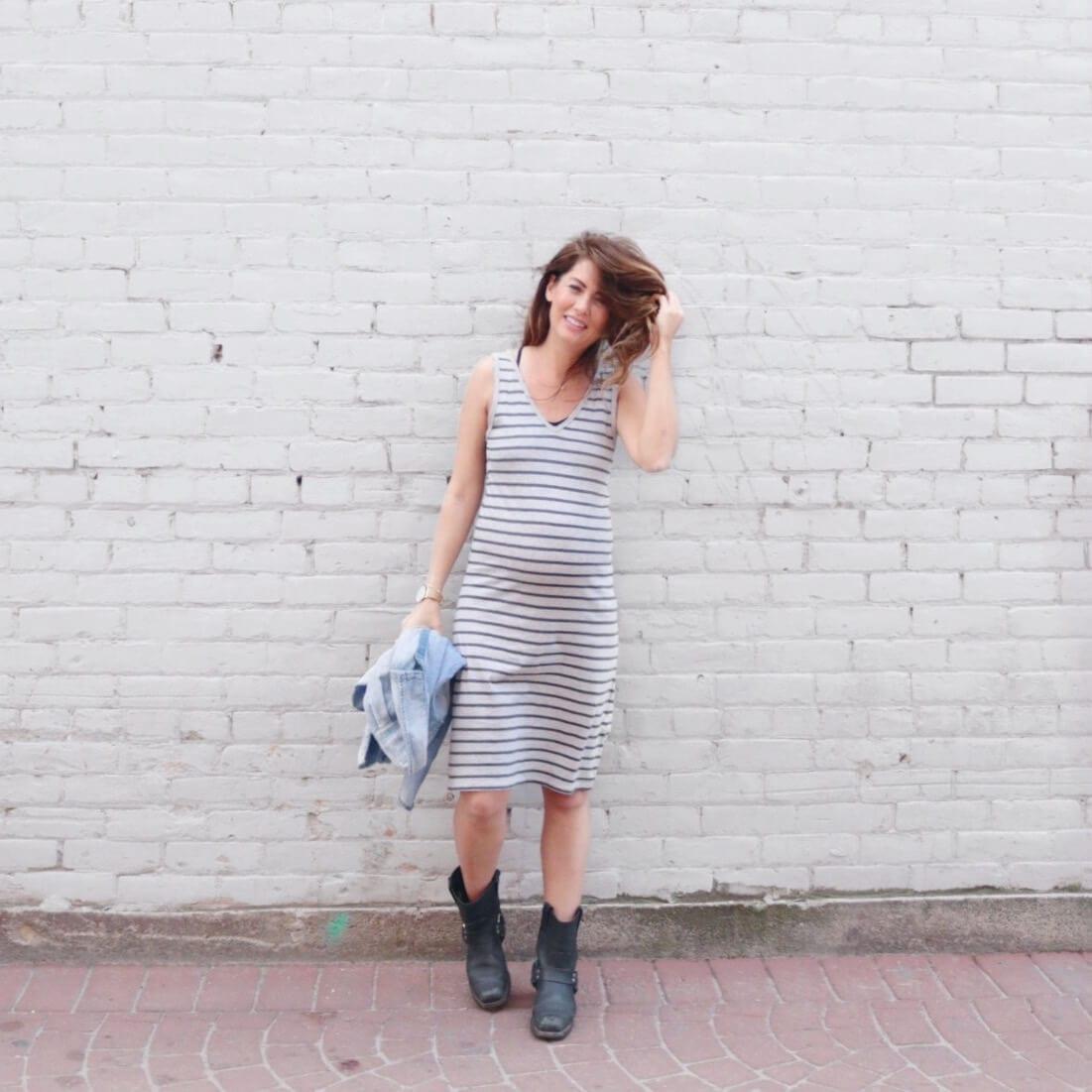 jillian harris in striped joe fresh dress and frye boots
