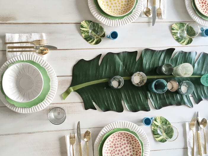 Tropical leaf Table Runner