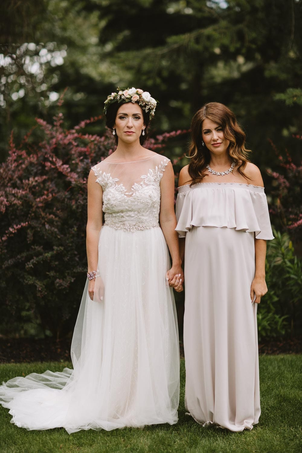 His hers wedding wardrobe must haves jillian harris 2 accessories we kept the accessories on all of the girls simple sammy wanted to go with a statement flower crown from classic creations floral design so ombrellifo Image collections