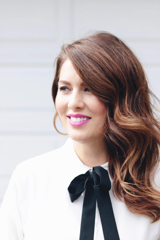 Jillian on set of Love It Or List it wearing white button up Nordstrom dress