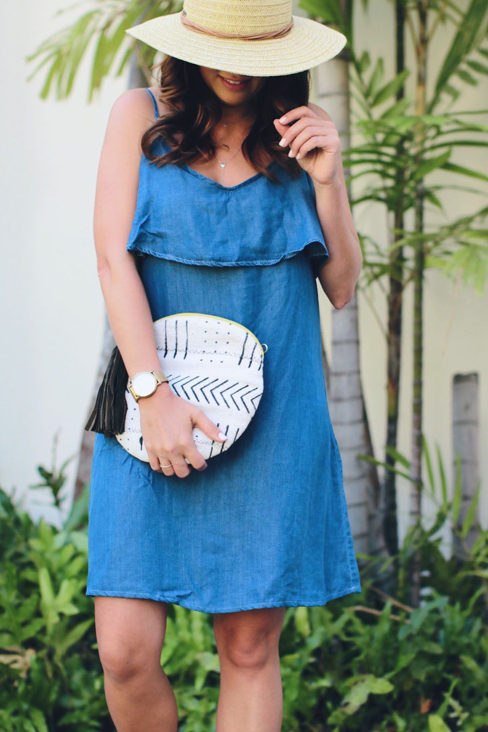 goodnight-macaroon-jean-dress-with-hat-and-clutch