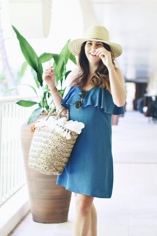 jill-in-maui-with-straw-bag-ad-denim-dress