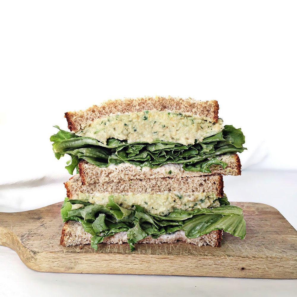 plant based vegan toona open-sandwich