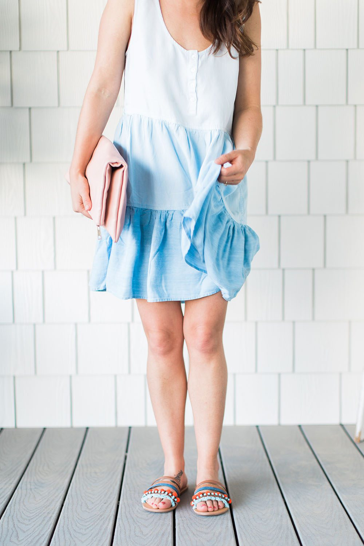 Jillian Harris wearing a summer dress and sandals from Nordstrom.
