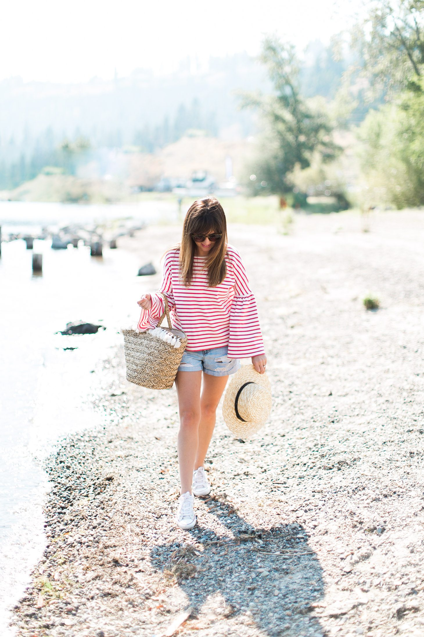 Jillian Harris J Crew Red Bell Sleeve Shirt Beach