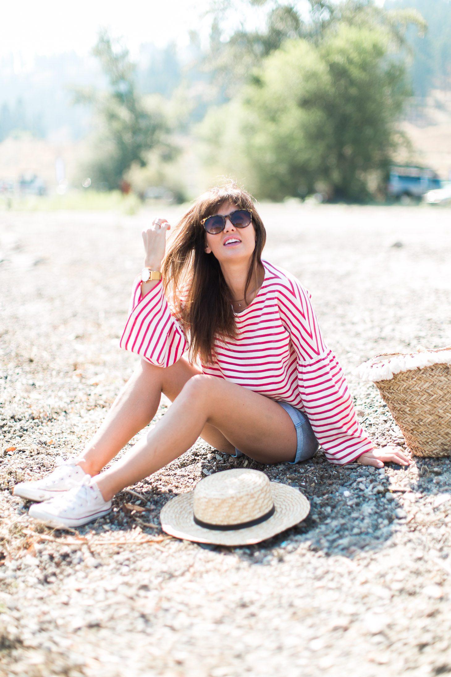 Jillian Harris J Crew Red Shirt Beach-32 (1)