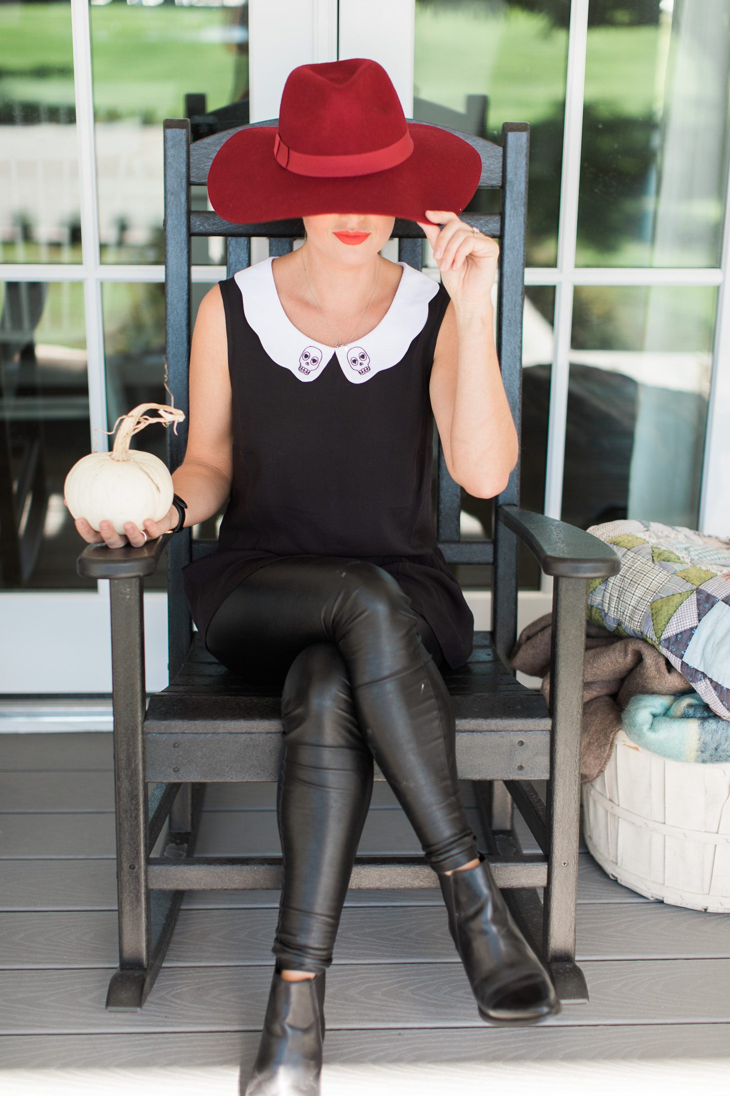 Jillian Harris ModCloth Skull Peplum Top