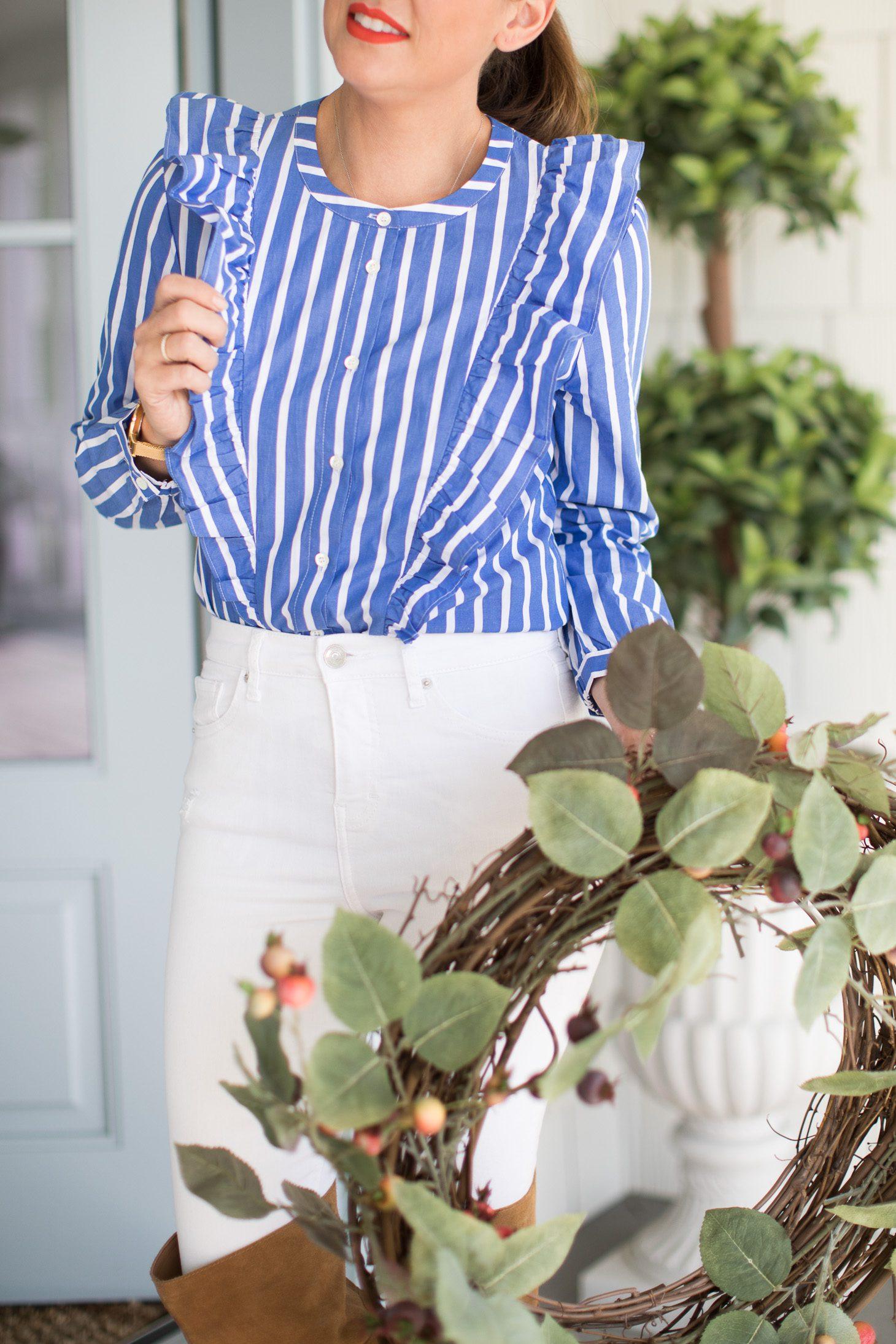 Jillian Harris Nordstrom Blue Striped Top