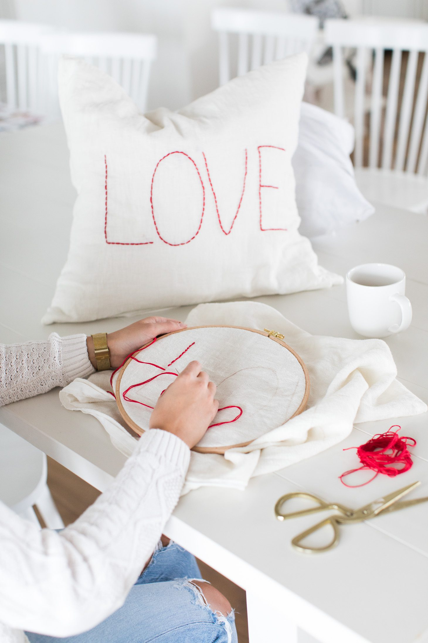 Jillian Harris Easy DIY Stitched Love Pillow