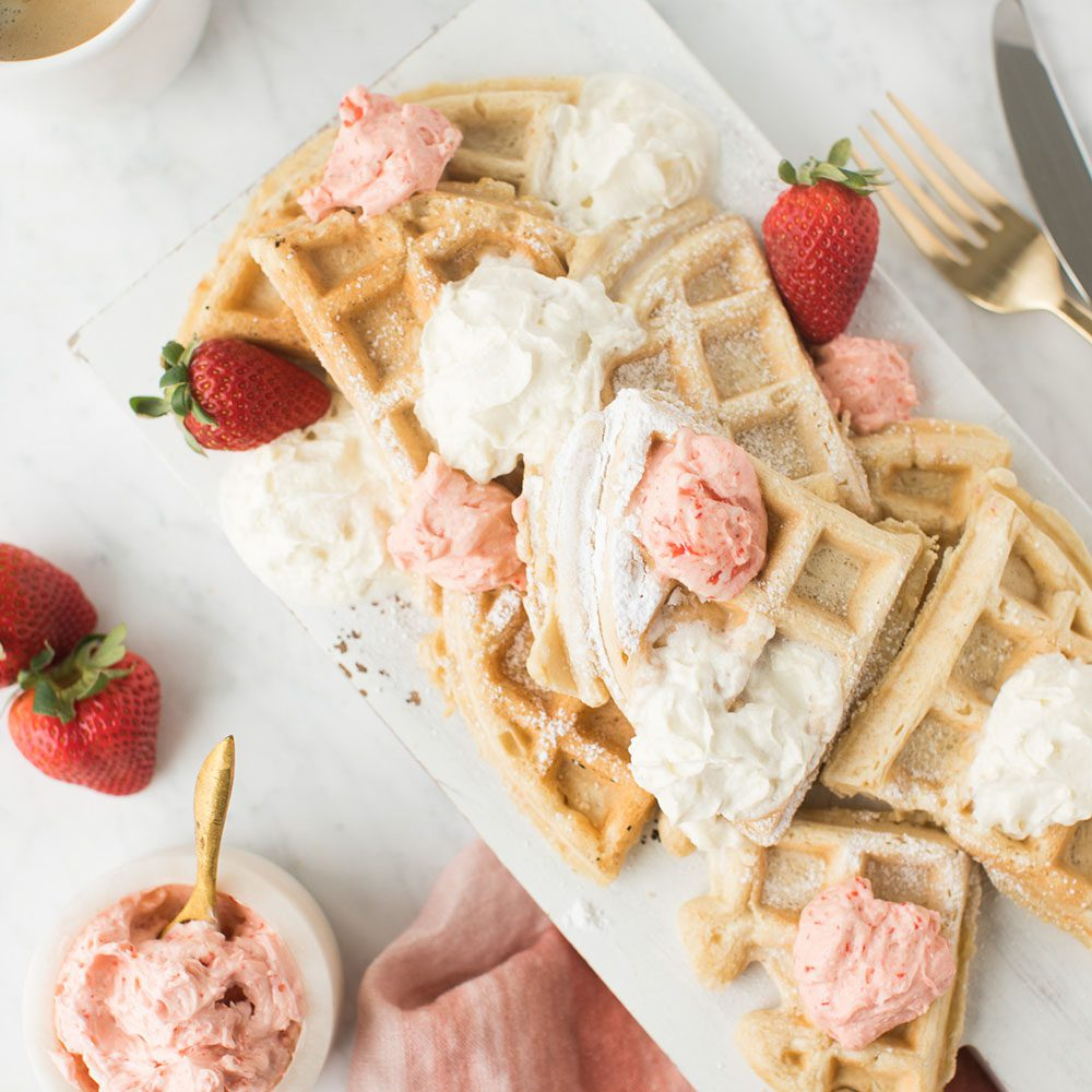 Vegan Waffles with Strawberry Butter