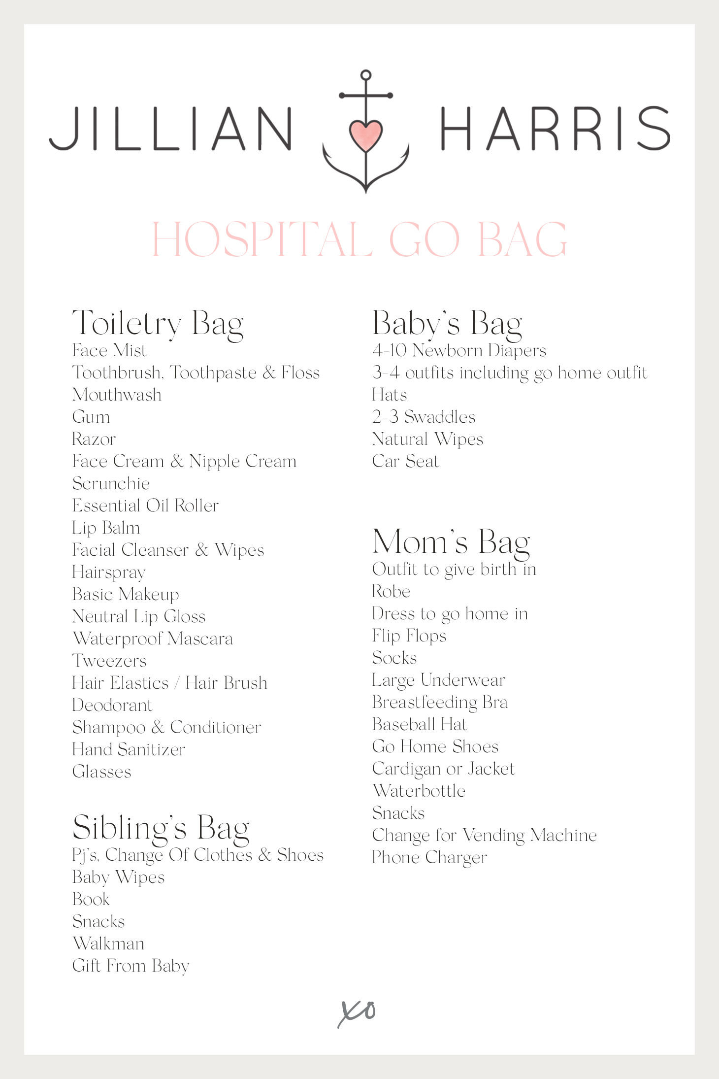 Jillian Harris Hospital Go Bag