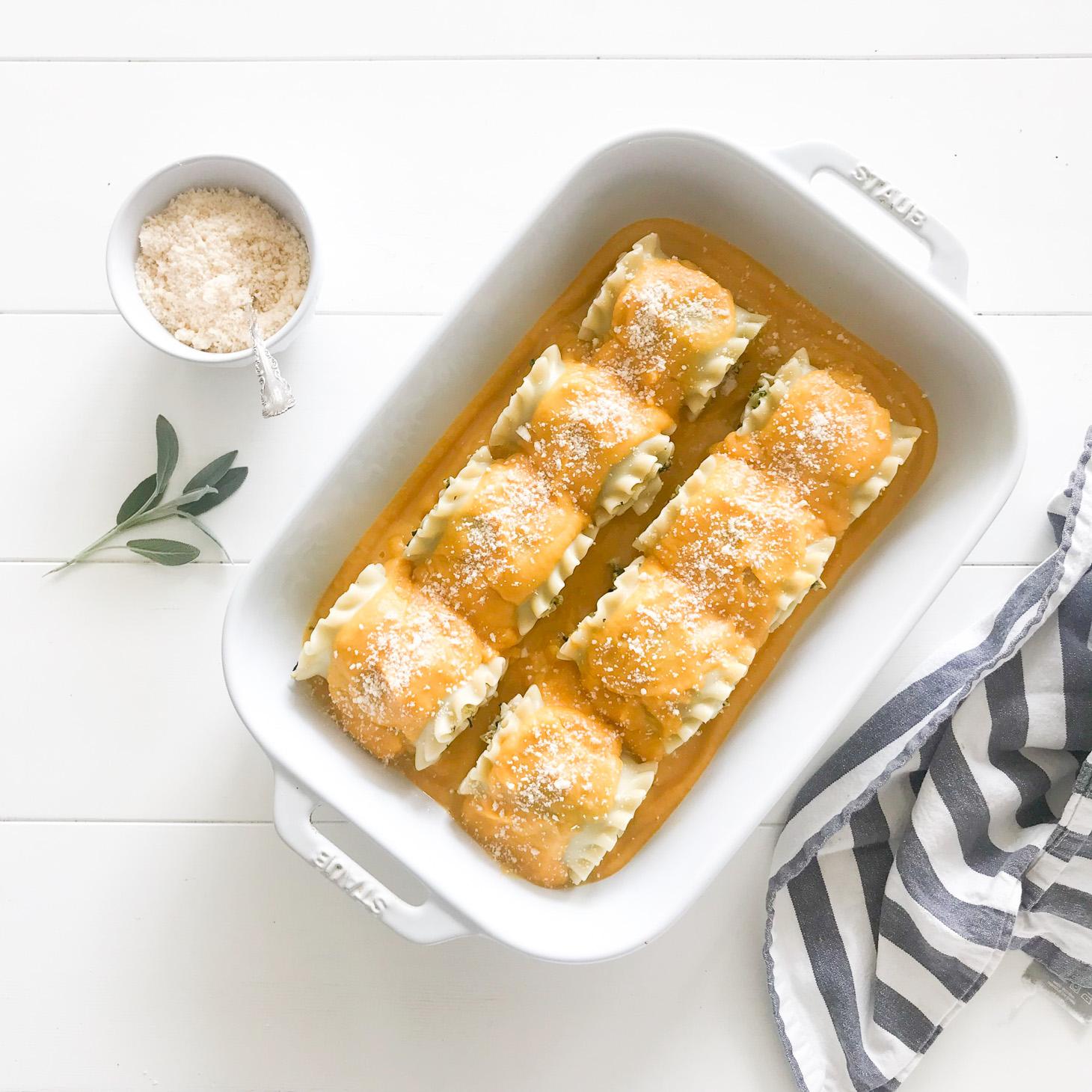 Jillian Harris Vegan Butternut Squash Lasagna Rollups