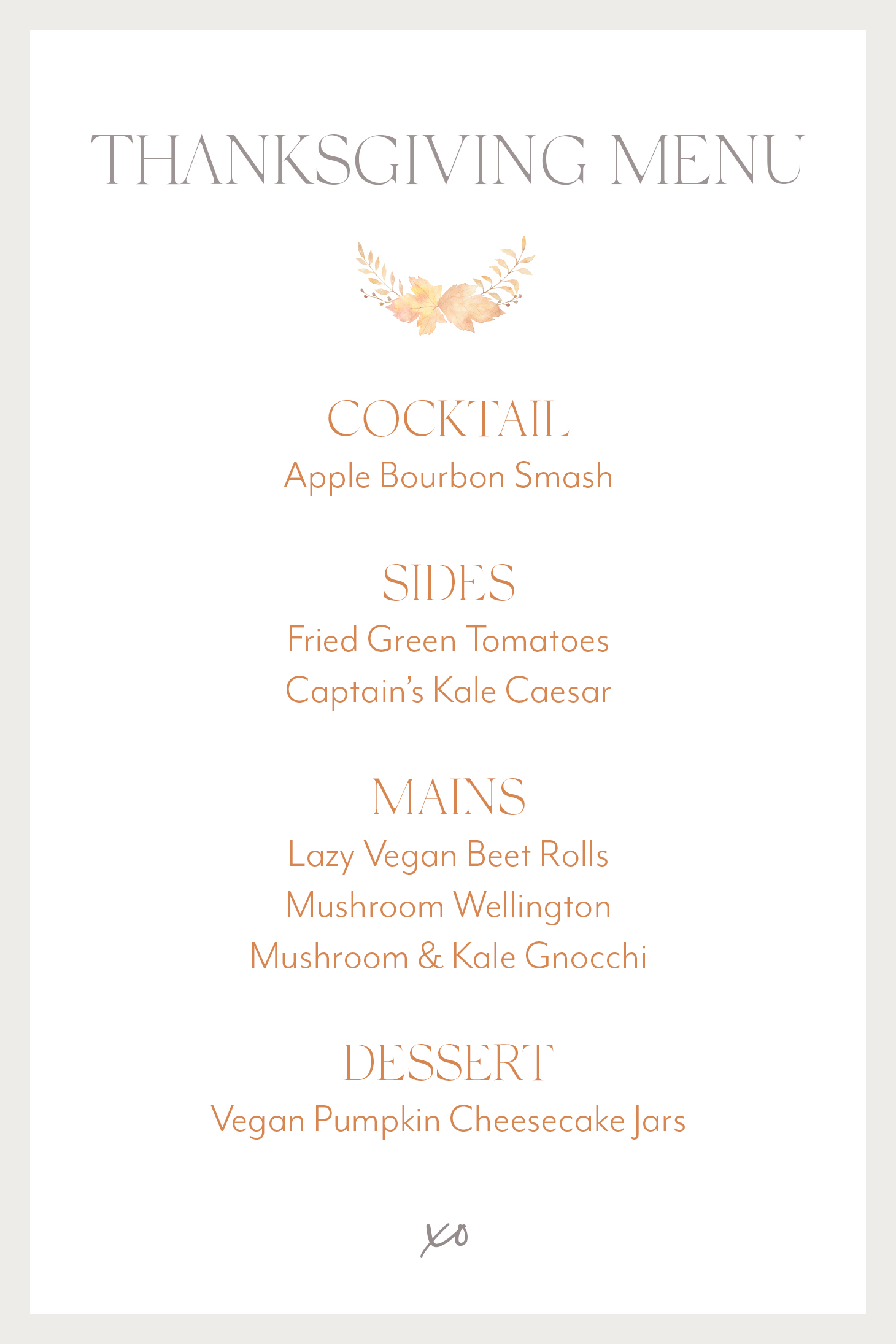 Jillian Harris Thanksgiving Menu
