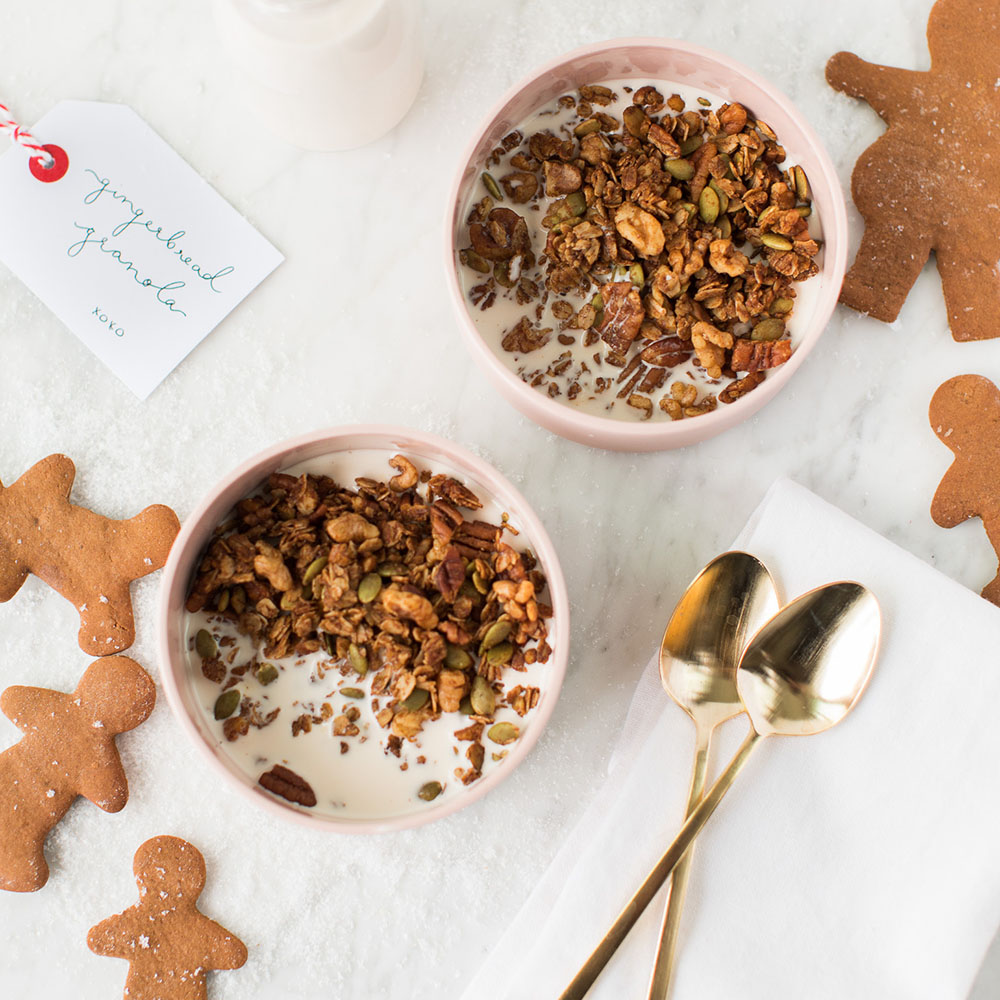 Gingerbread Granola with Maple Spiced Almond Milk