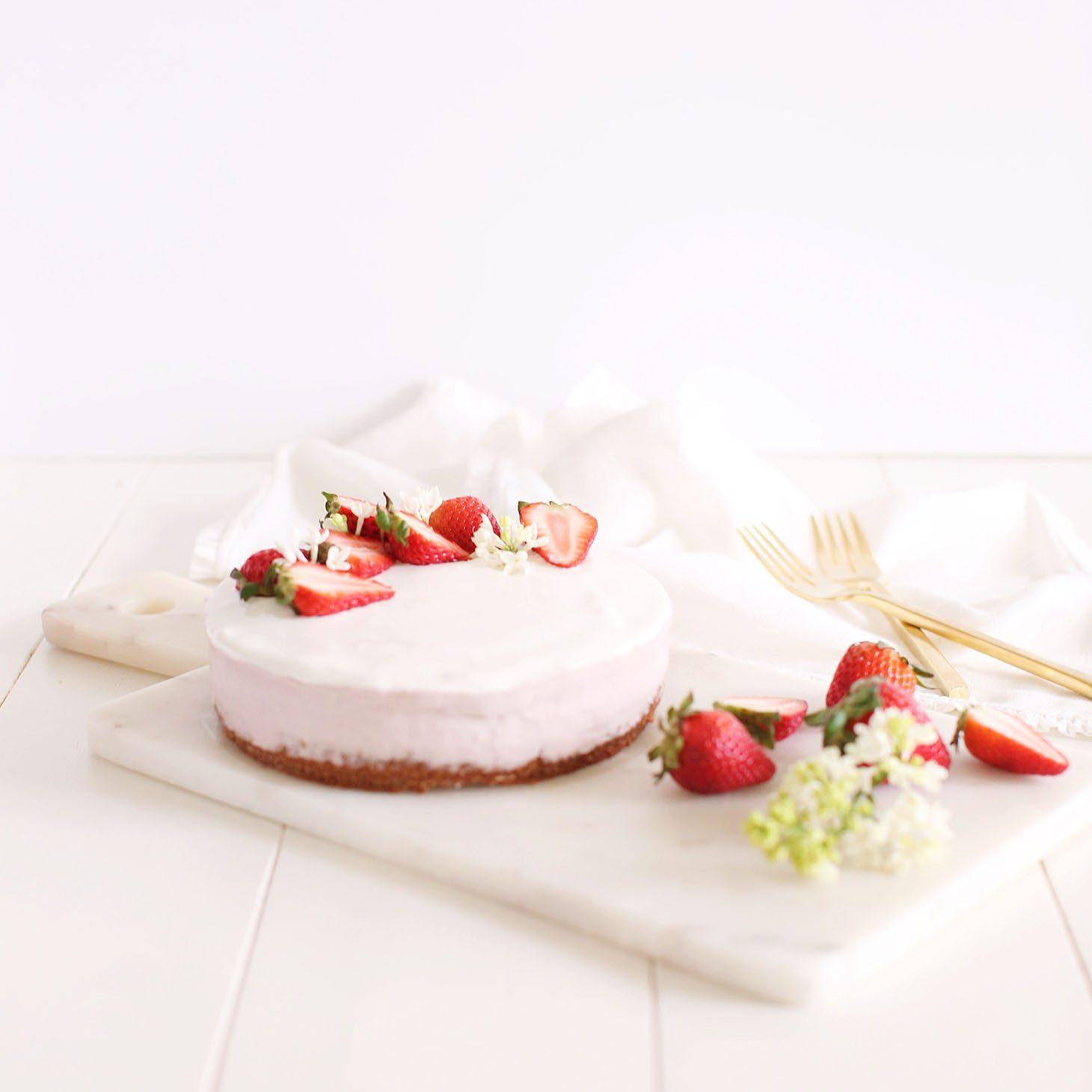 Jillian Harris Coconut Strawberry Vegan Cheesecake