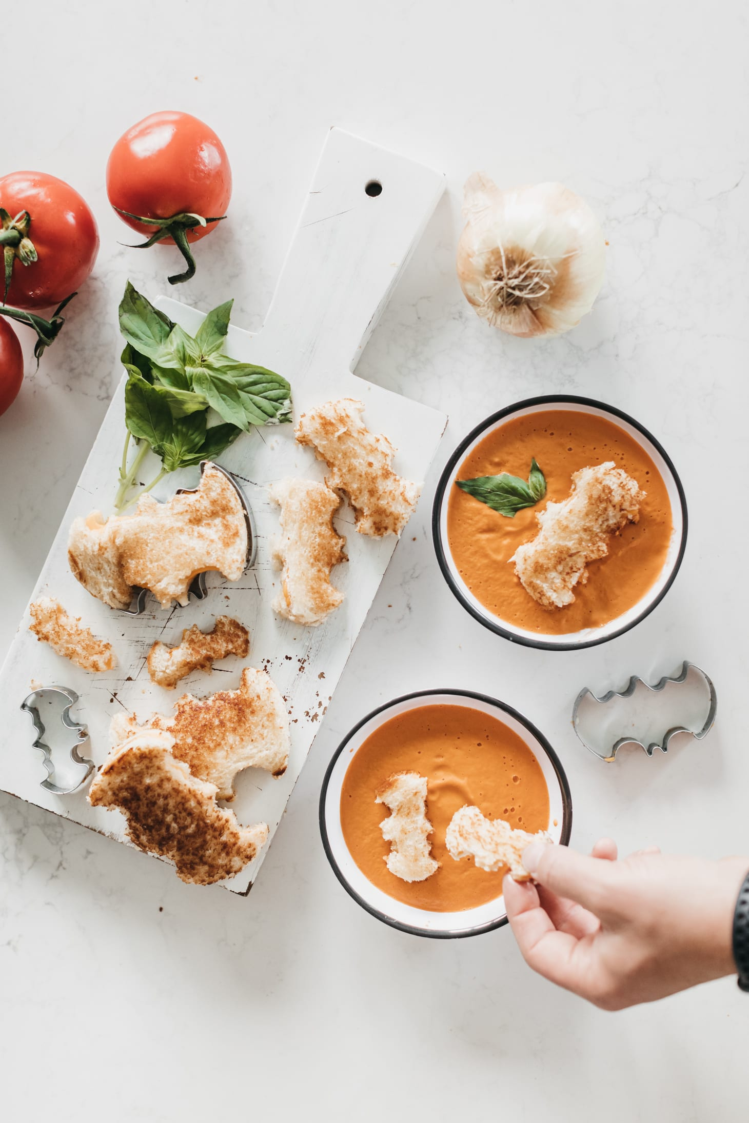 Jillian Harris Homemade Tomato Soup and Batman Grilled Cheese