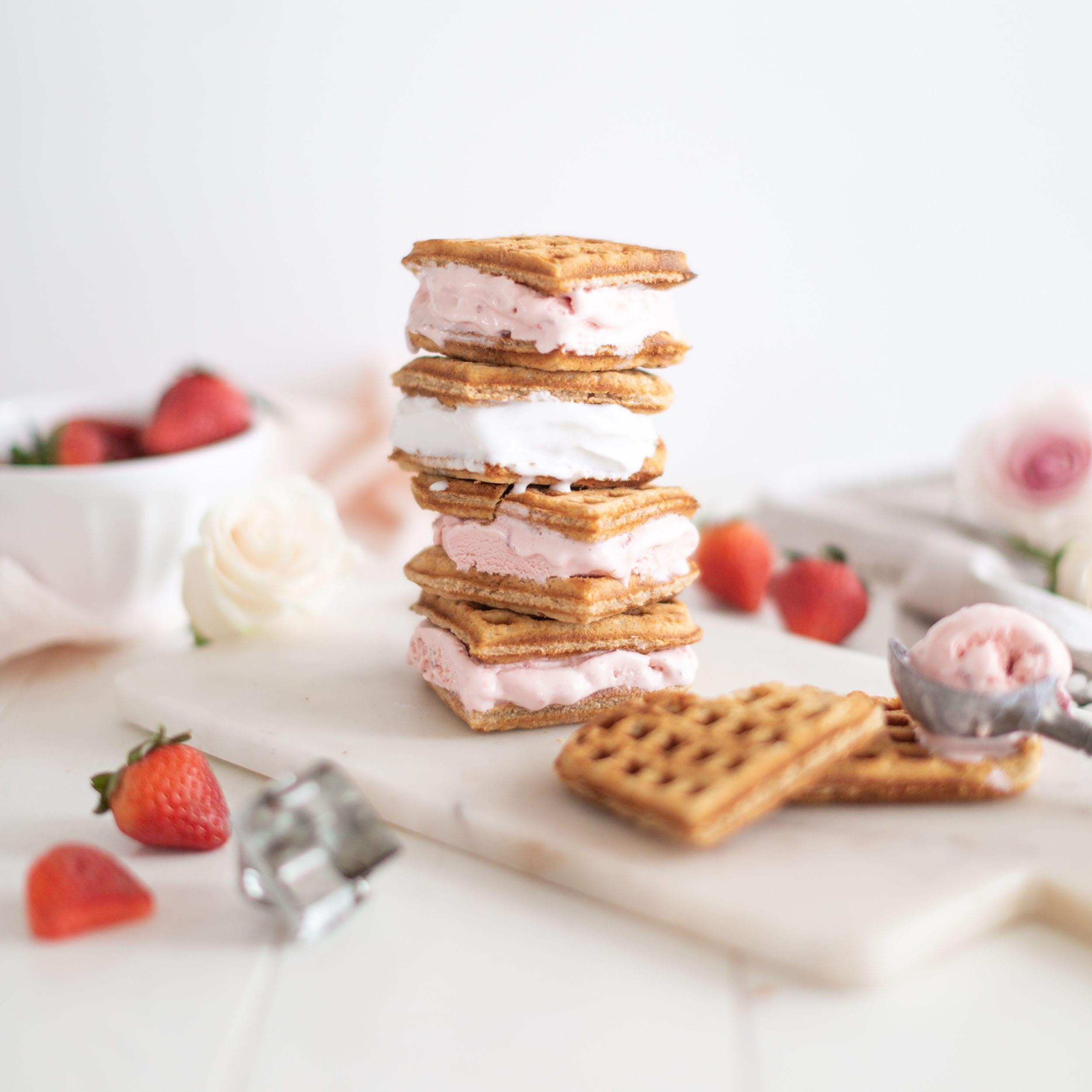 Valentine's Heart Waffle Ice Cream Sandwiches