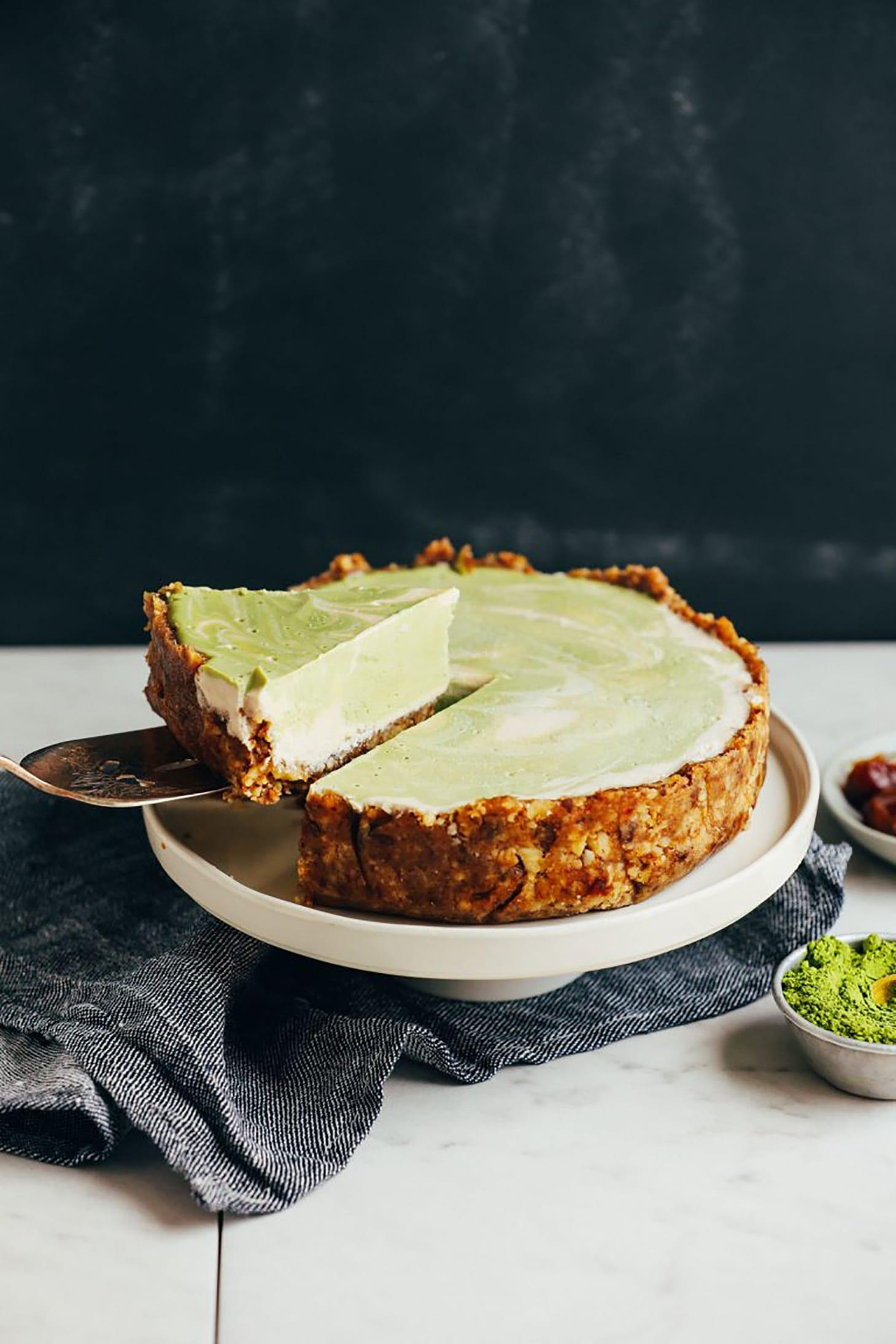Vegan Matcha Swirl Cheesecake by Minimalist Baker