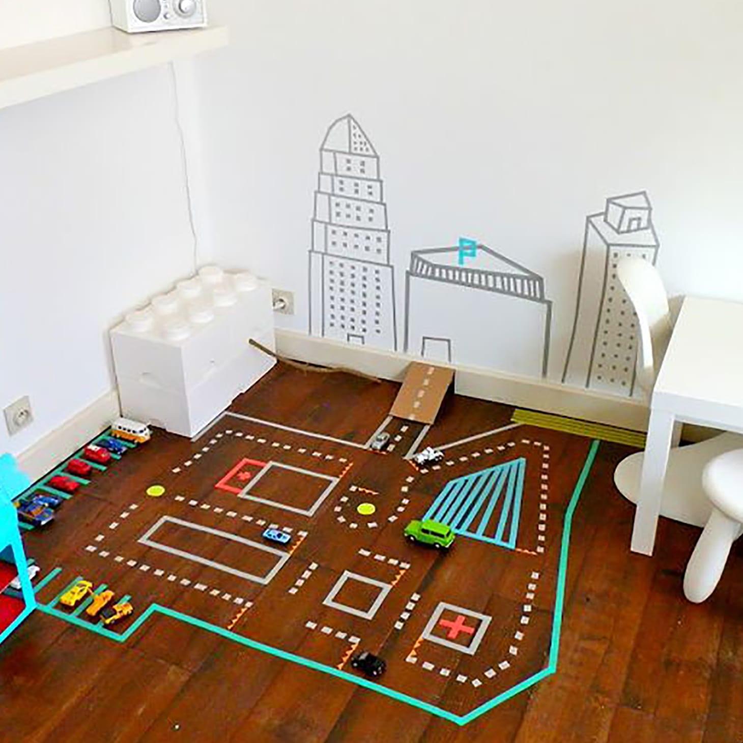 Washi Tape DIY Race Track for Kids
