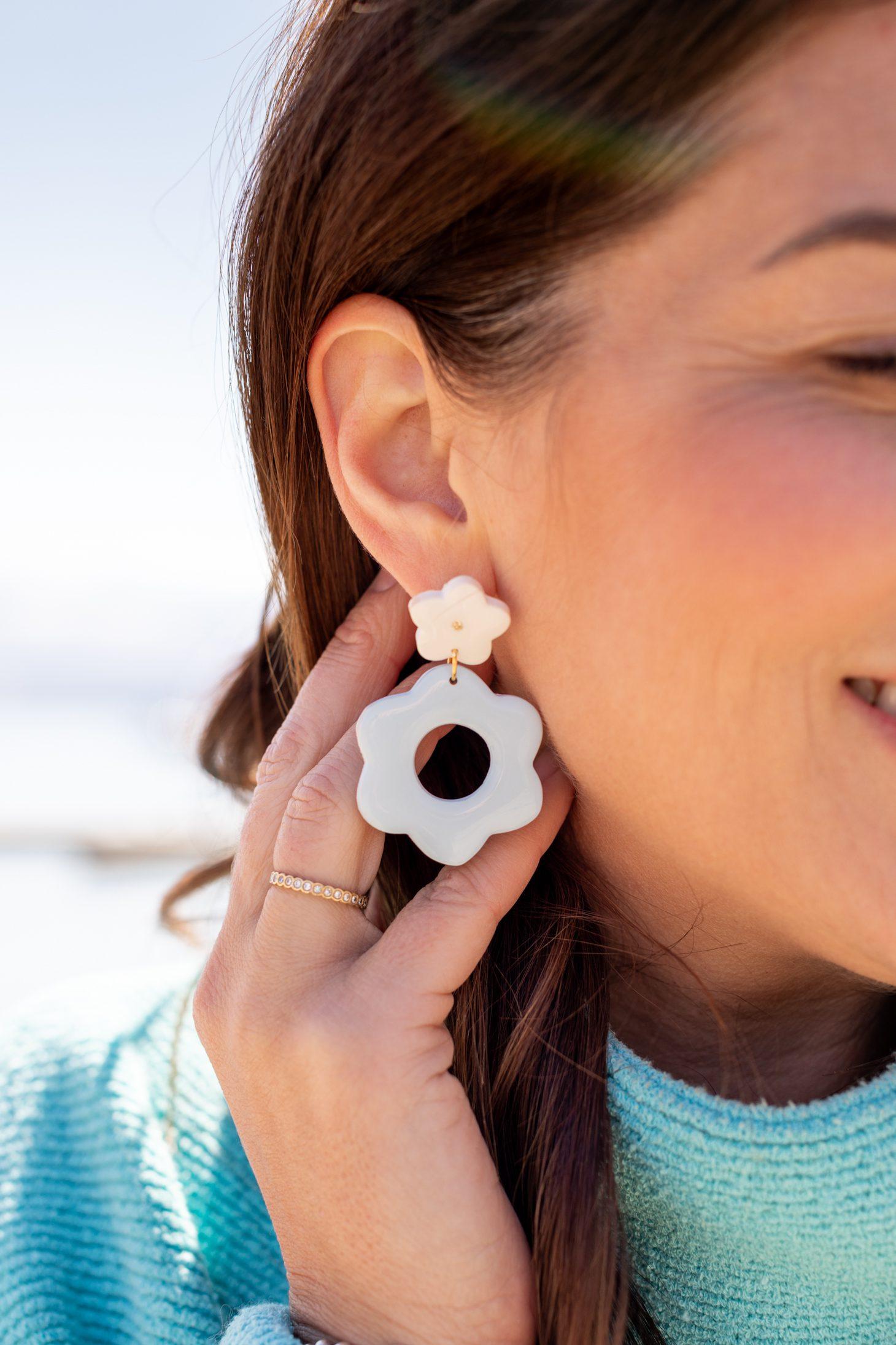 Jillian Harris wearing the limited edition Merry Mae Designs Retro Flower Earrings