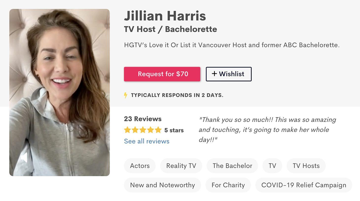 Jillian Harris Cameo Account