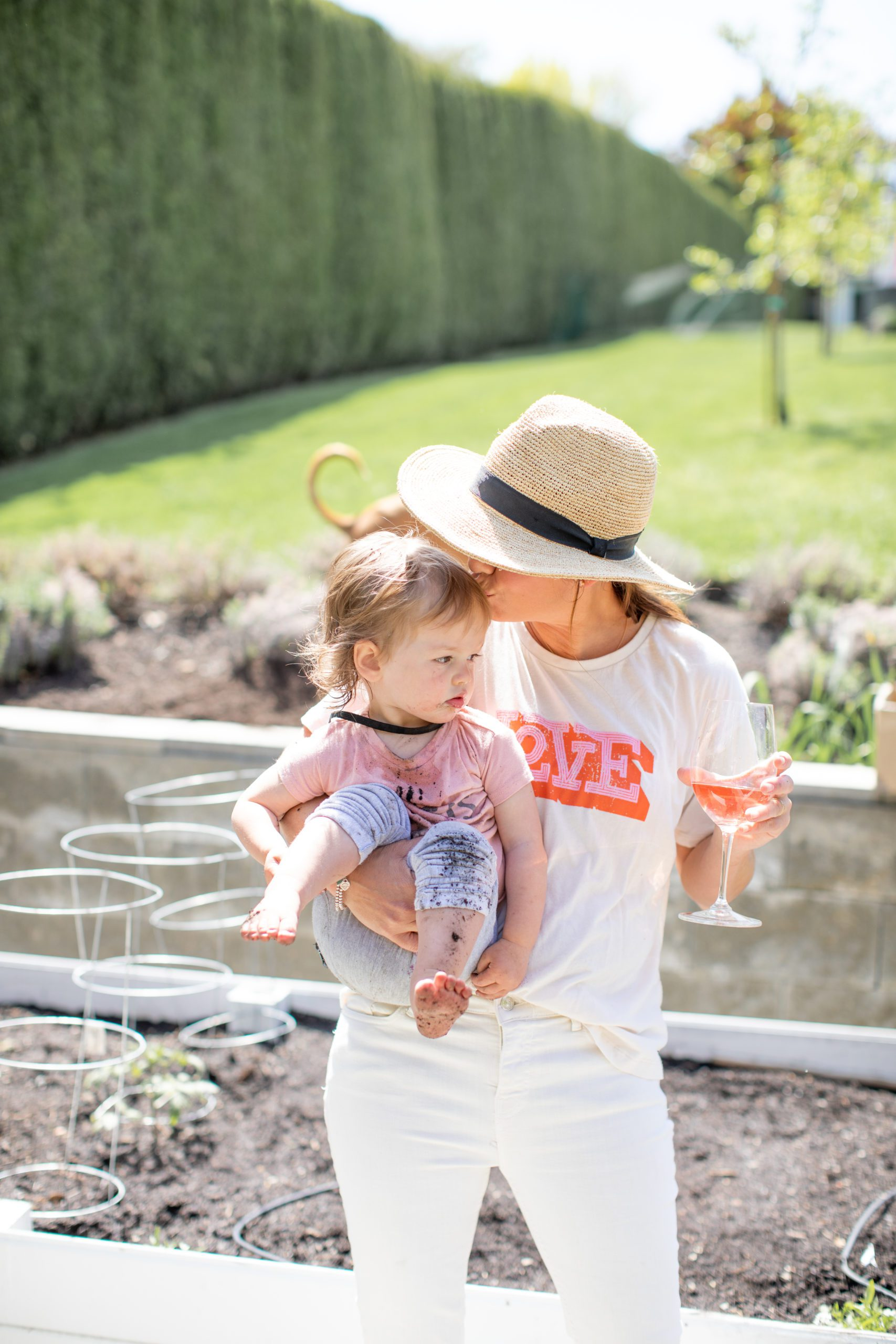 Jillian Harris and Daughter Annie in the Garden