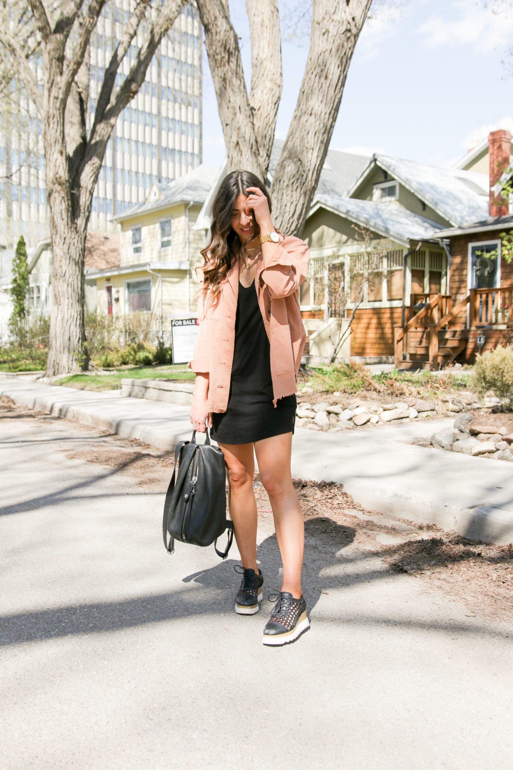 Spring Jacket and Black Dress