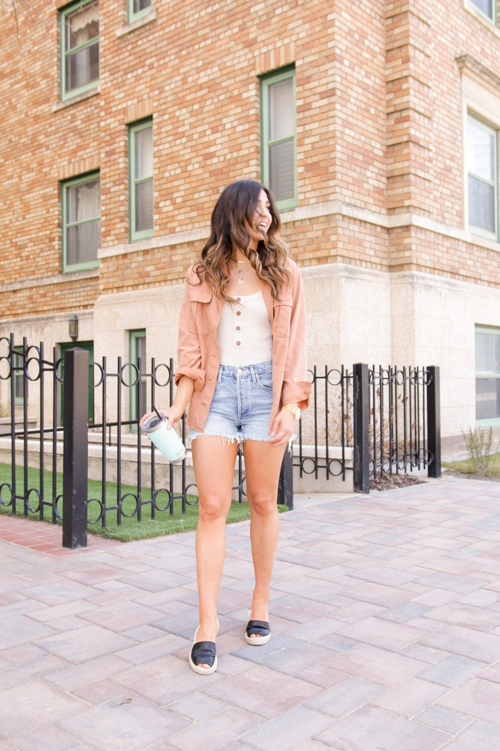 Spring jacket with jean shorts