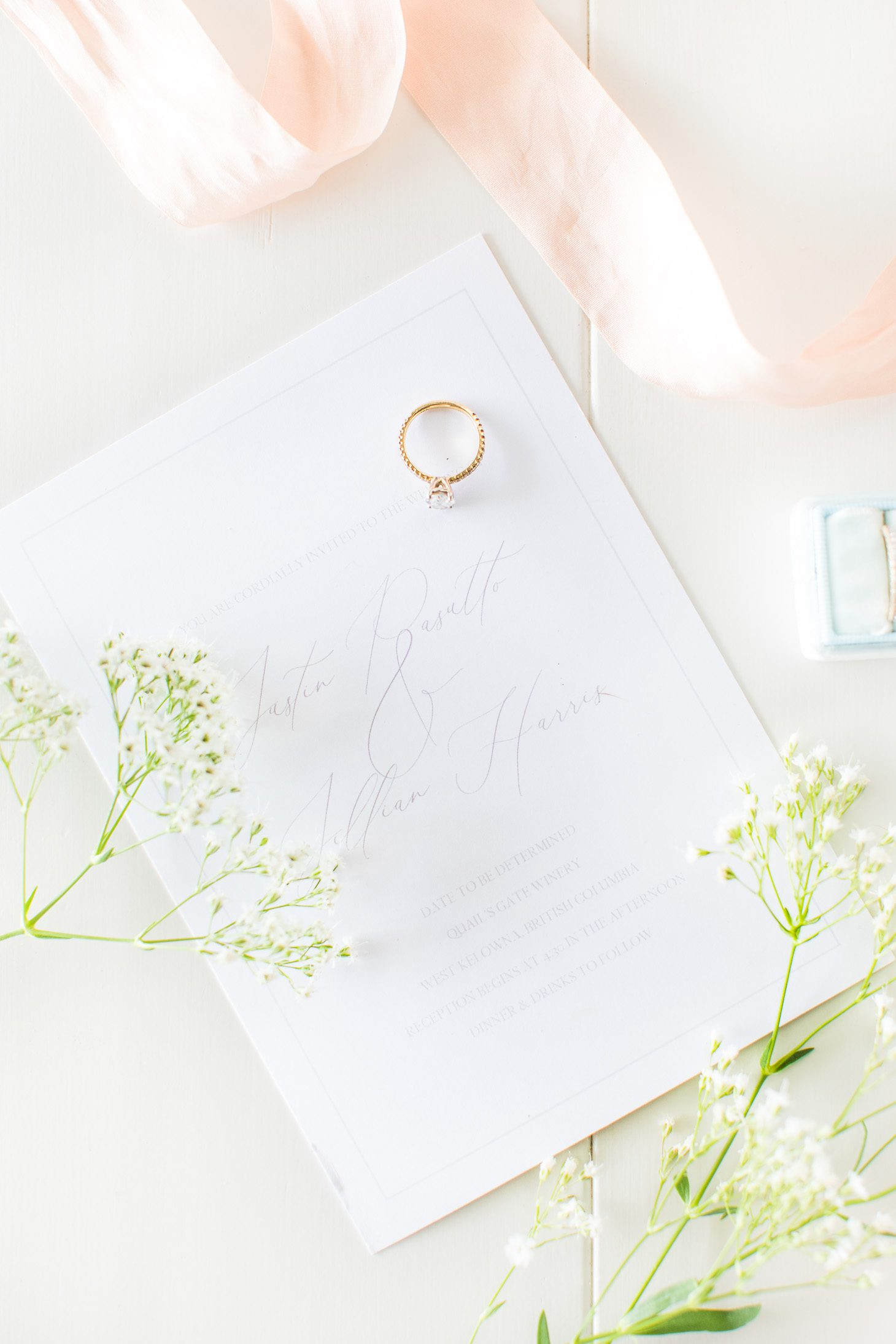 Jillian Harris and Justin Pasutto Wedding Invitations