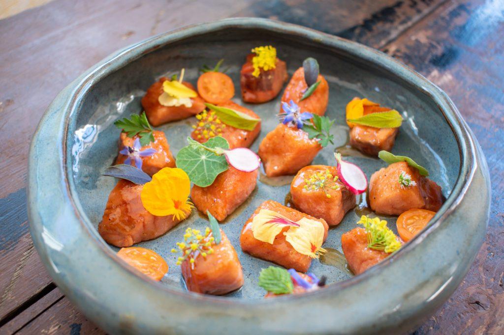 Maple glazed salmon bite recipe