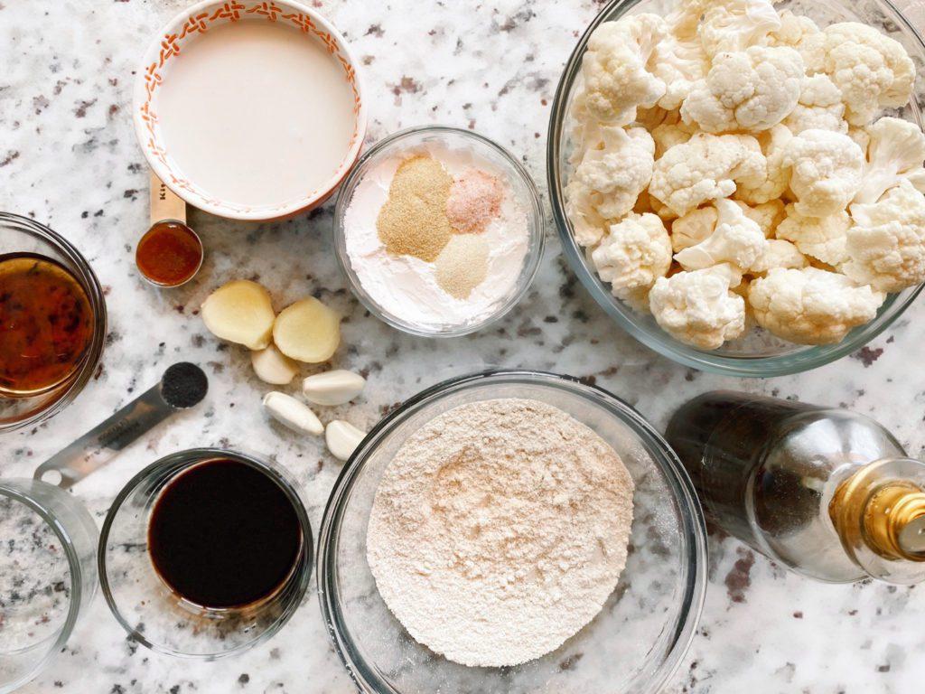 ingredients for sticky sesame cauliflower recipe