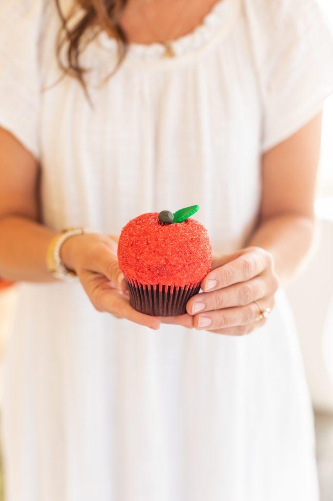 Delicious vegan red apple cupcake
