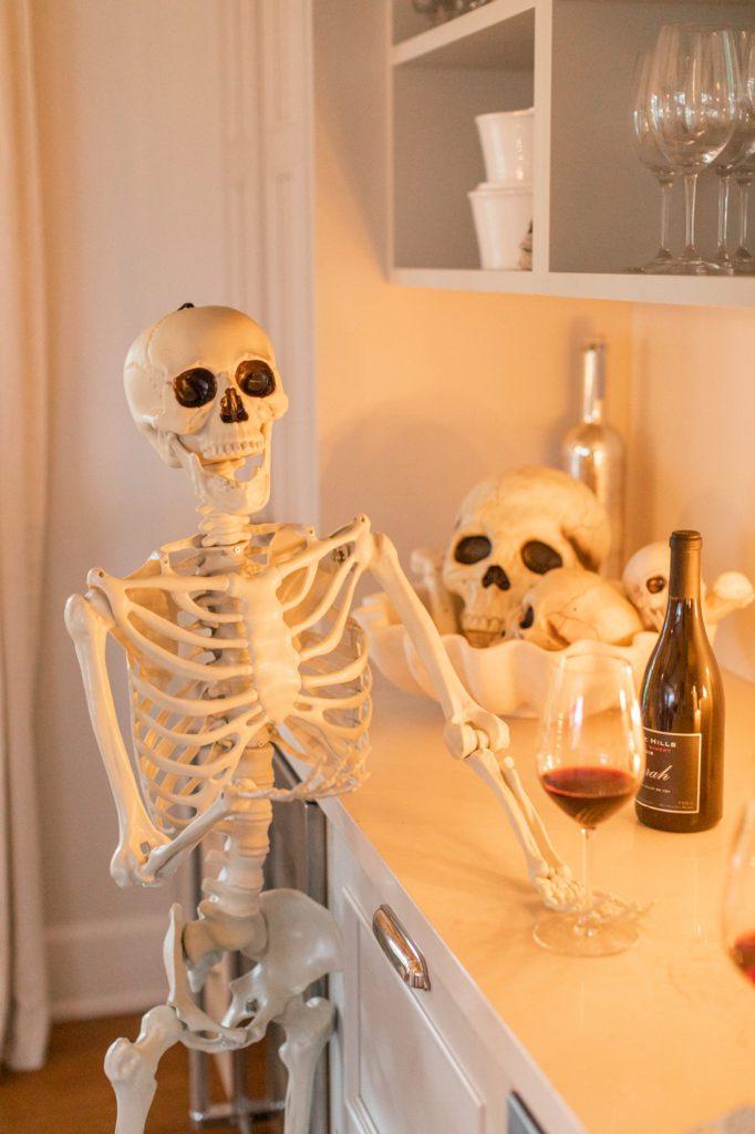Fake skeleton halloween decor