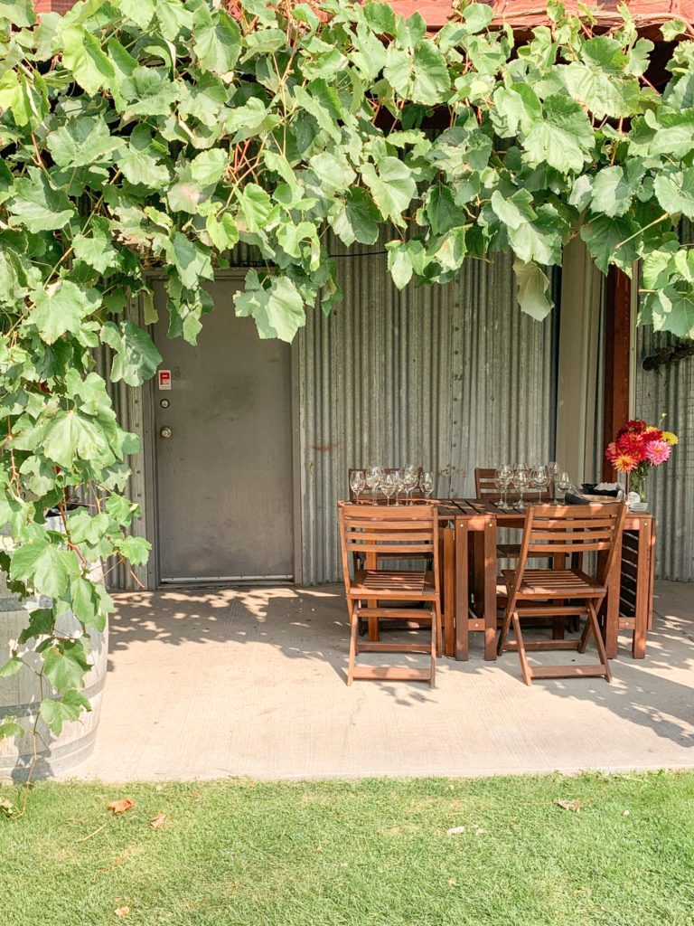 Outdoor lunch venue at Stoneboat Vineyards