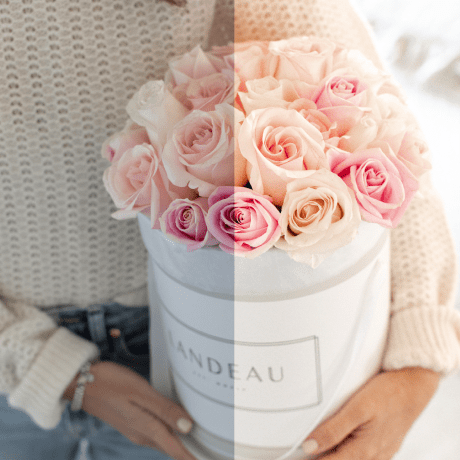 Jillian Harris presets shown on a photo of Jilly holding pink and white roses.