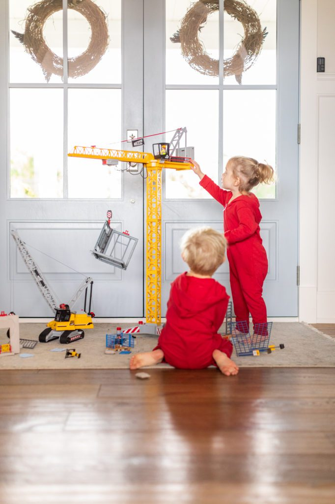 Leo and Annie playing with Playmobil RC Crane