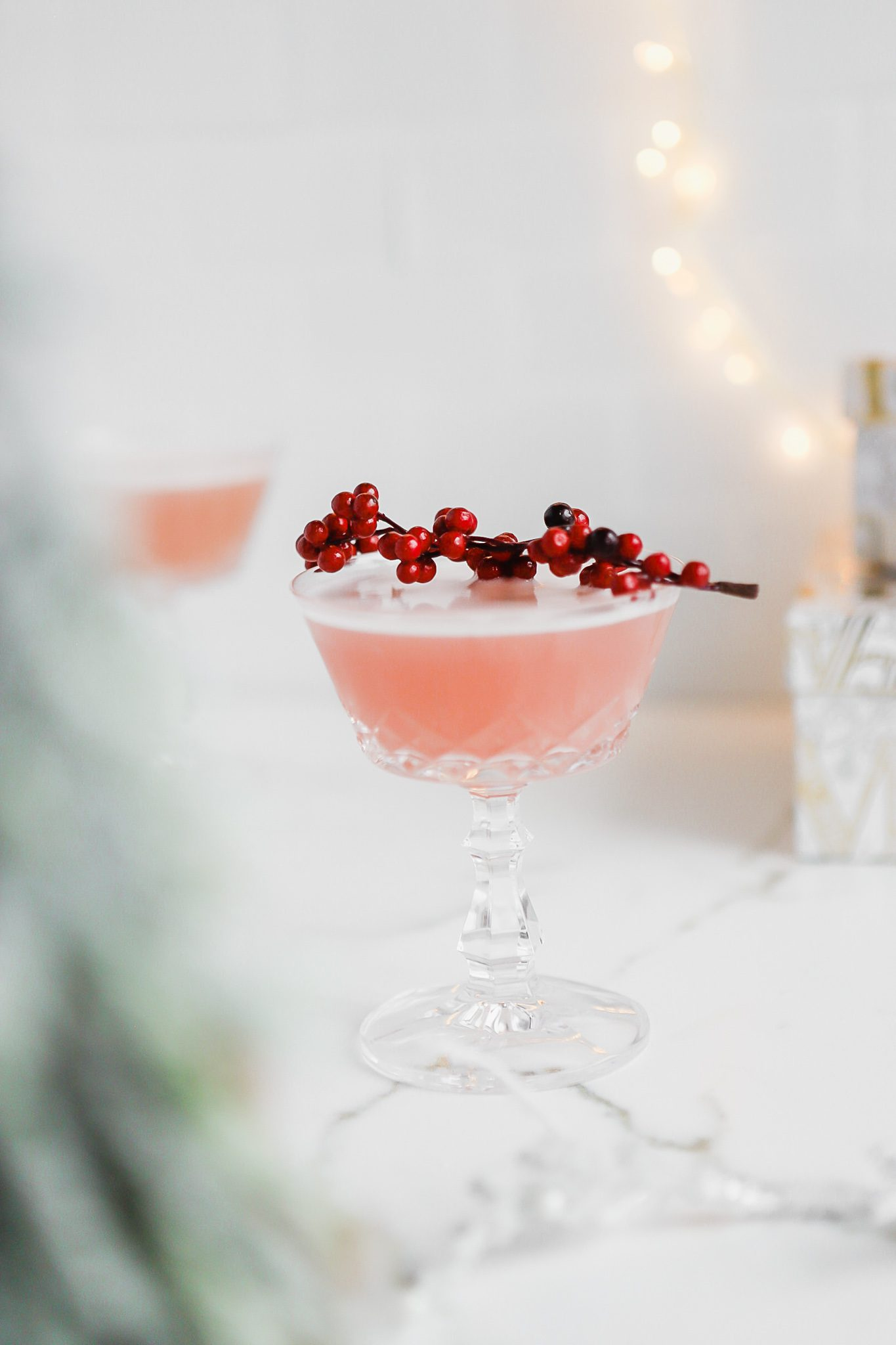 Holiday inspired Cranberry Gin Sour Cocktail