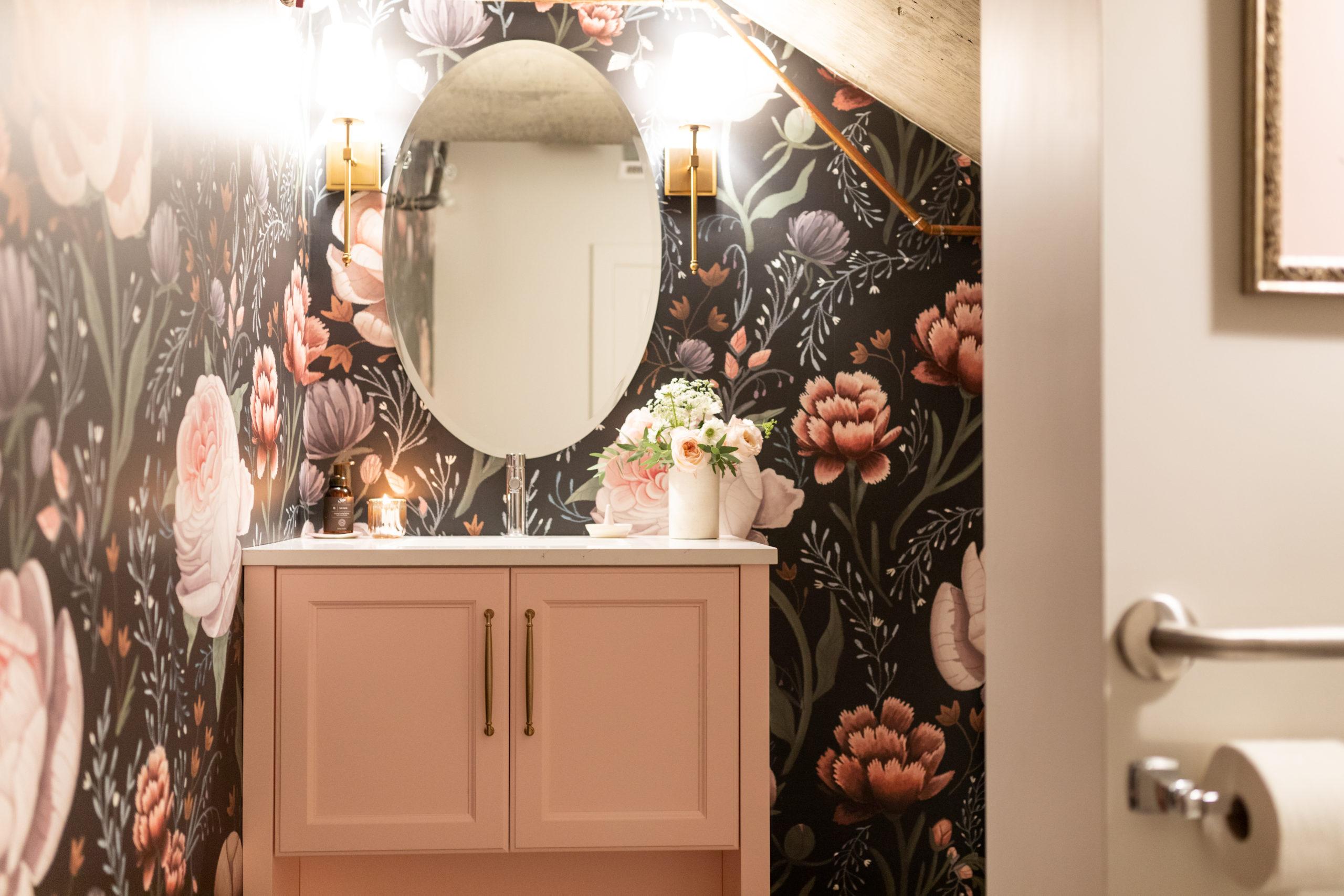 A feminine, dramatic and moody bathroom design