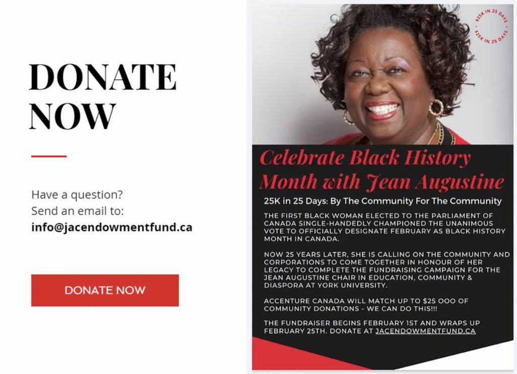 Celebrate Black History Month with Jean Augustine donation graphic