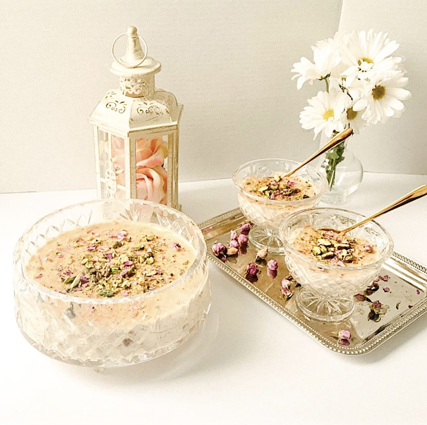 Eid Day food in elegant serving dishes.