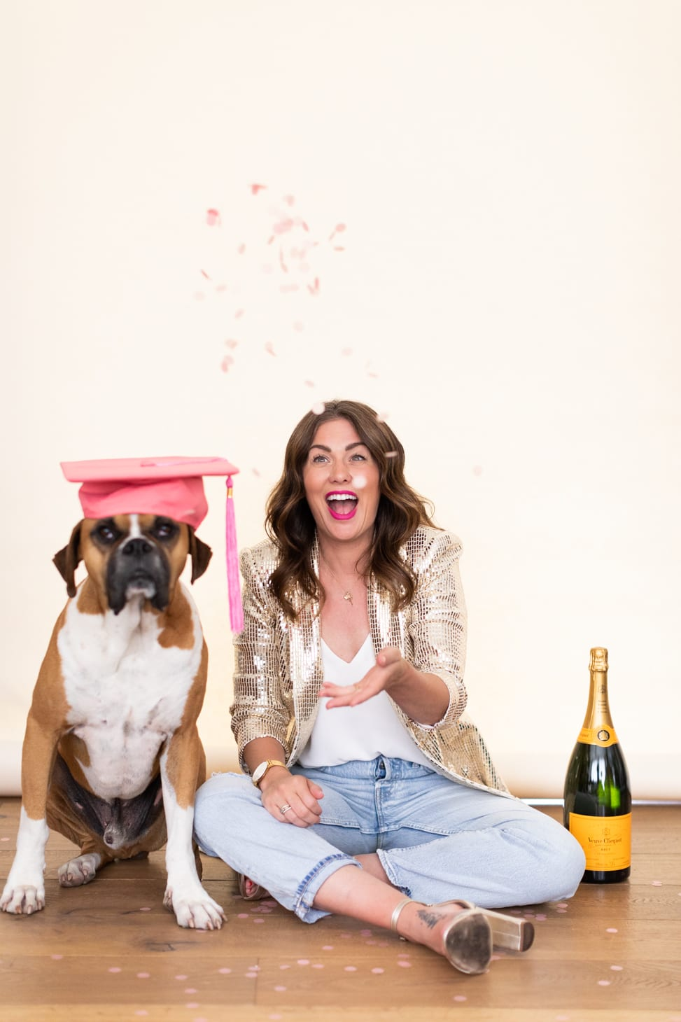 Jillian Harris with her dog Nacho celebrating The Growth Accelerator Course Launch.